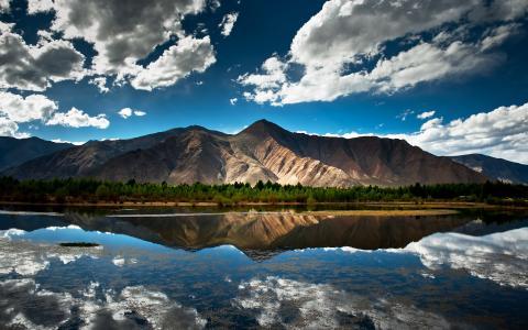 中国,西藏,山,湖,反射,云,天空,西藏,中国