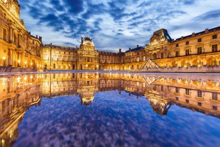 巴黎,博物馆,法国,卢浮宫,巴黎,法国,卢浮宫,建筑,反思,城市