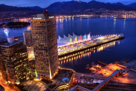 晚上,山,城市,温哥华,房屋,海,码头