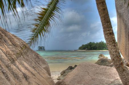 塞舌尔,海洋,天空,石头,绿化,海岸,美女