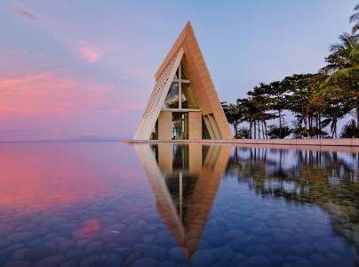 房子,巴厘岛,棕榈树,游泳池,石头