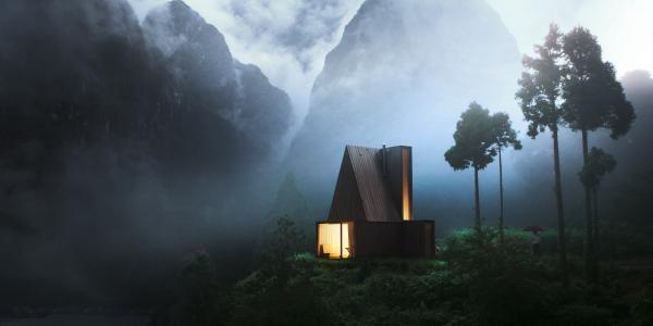 房子和舒适,照片,创意,山,阴