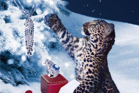 动物,捕食者,幼崽,豹,新年,树,装饰,卡地亚,时尚,雪,冬天,夜,环,吊坠,案件