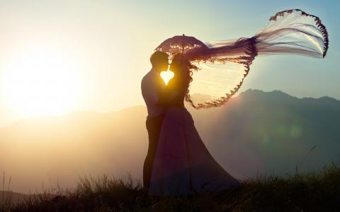 爱,心,新娘,情侣
