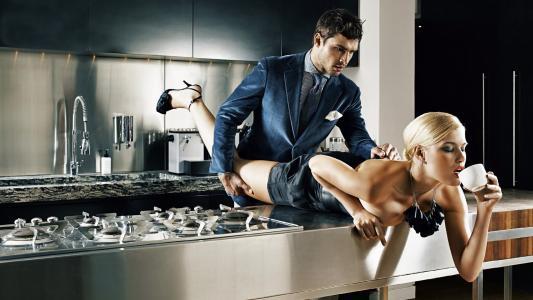 男人,身体,金发,裙子,女人,图,咖啡