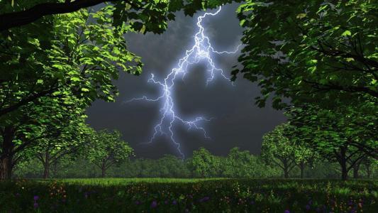 夏天,草地,闪电