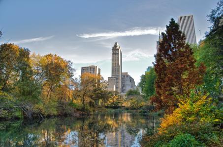 中央公园,纽约,中央公园,湖,纽约
