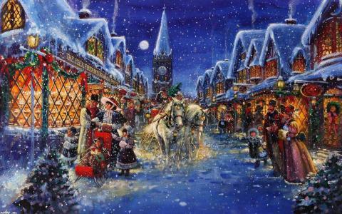 圣诞节,晚上的城市,冬天,雪,假期,斯图尔特·舍伍德