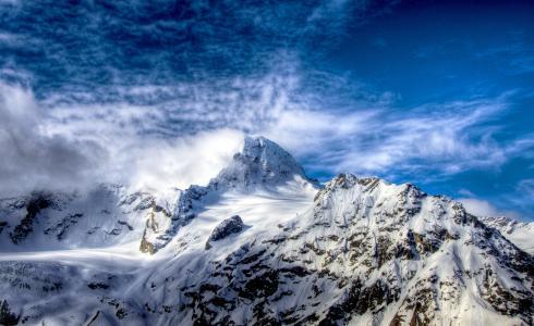 雪,岩石,白色,天空,山,云,顶部,蓝色
