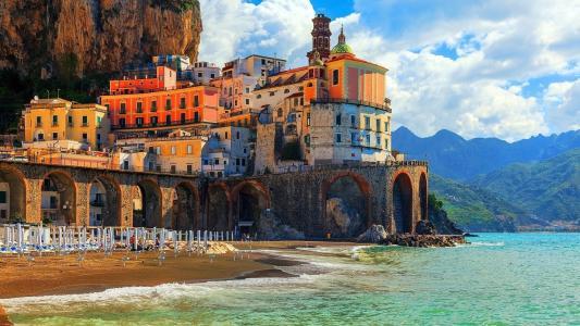 意大利,山,海滩,美丽