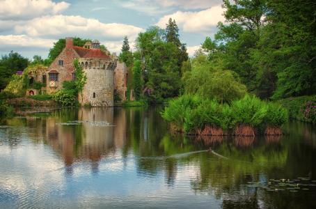 老城堡,Lamberhurst,肯特,湖,树,城堡