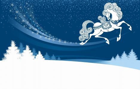 冬天,雪,雪堆,马,今年的象征,枞树,晚上