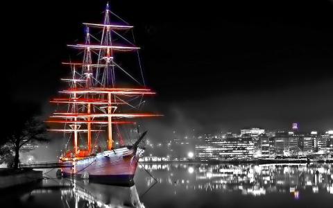 斯德哥尔摩,晚上,船,全景
