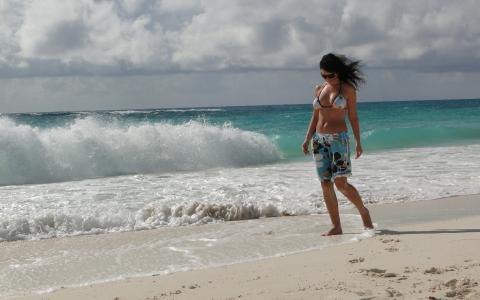 海,波,岸,风,女孩,短裤,沙子,脚印