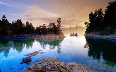 性质,湖,岸,石头,帆船,晚上,树,天空,云,反射