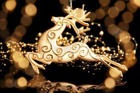 黄金,装饰,图,新年,散景,鹿