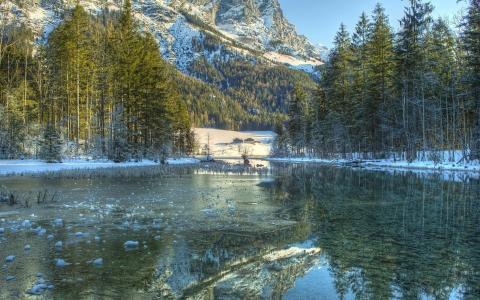 冬天,山区河流,山,自然,冰,森林,美丽