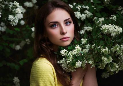自然,大眼睛,棕发,构成,春天,积极