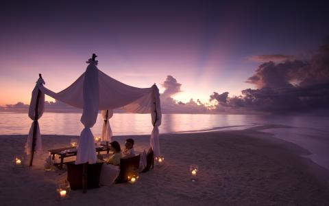 夫妇,晚餐,晚上,度假村,海洋,日落,云,美丽,假期
