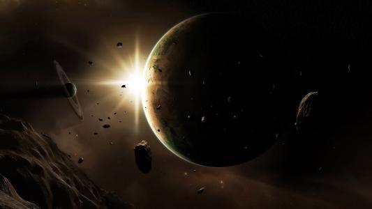 行星,陨石,光,小行星,光辉,空间
