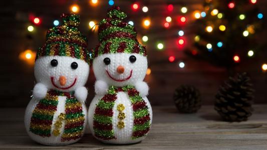 节日,新的一年,雪人,夫妇,锥,散景