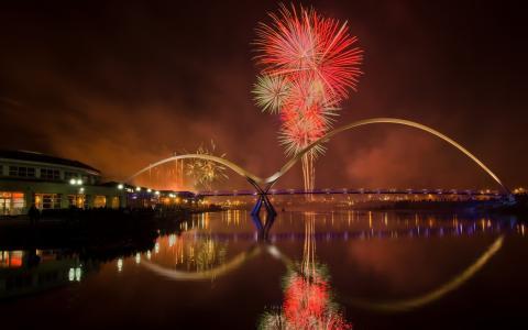 桥,斯托克顿,城市,烟花,晚上,河流
