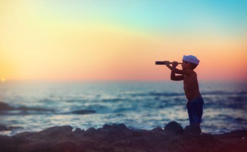 男孩,孩子,照片,积极,家具,海,石头