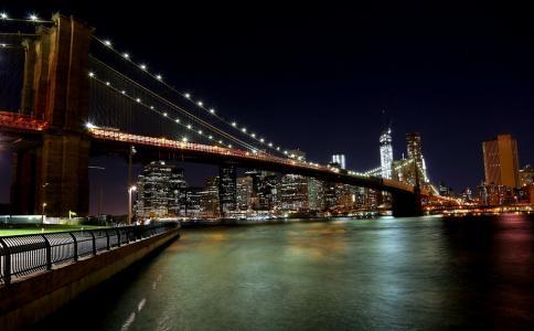 城市,纽约,路堤,桥,灯,照明,建筑,摩天大楼,美女,夜晚,天空