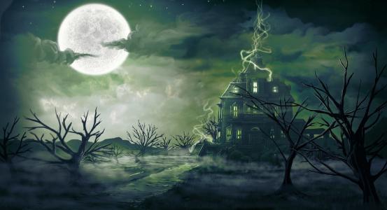 digitalinkrod,夜,雾,魔术,艺术,房子,月亮,景观
