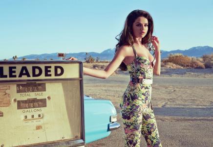 棕色头发,姿势,塞莱娜戈麦斯,歌手,女演员,模型,看,汽车,回,指针,题词,衣服,图,乳房,性感,性质,好