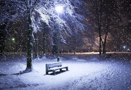 冬天,公园,雪,夜,板凳,灯笼,性质,城市