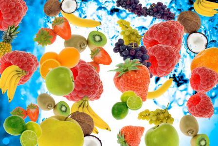 浆果,水果,覆盆子,香蕉,猕猴桃,草莓,酸橙,苹果,菠萝,椰子,葡萄,水