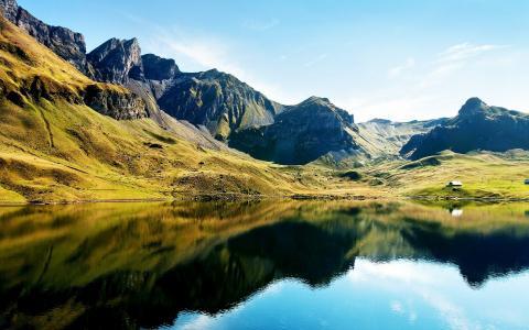 山,查看,湖,树,颜色
