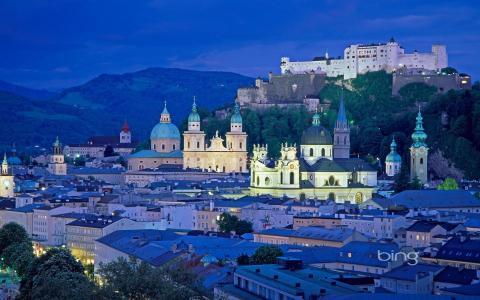 萨尔茨堡,奥地利,城市,山,城堡,晚上,灯,建筑,天空,大教堂,房屋,屋顶,塔,圆顶