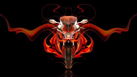 本田,WFR,Moto,本田,VFR,1200F,正面,火,自行车,摘要,橙色,黑色,托尼Kokhan,Photoshop,高清壁纸,设计,艺术,风格。