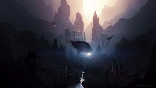 城市,山水画,河,未来,黑暗,怪癖,鱼