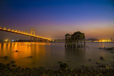 夜色下的虎门大桥