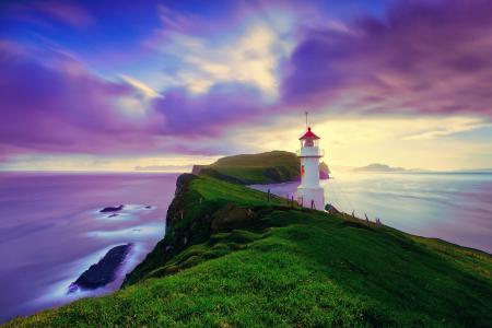 冰岛,灯塔,岩石,性质,美丽