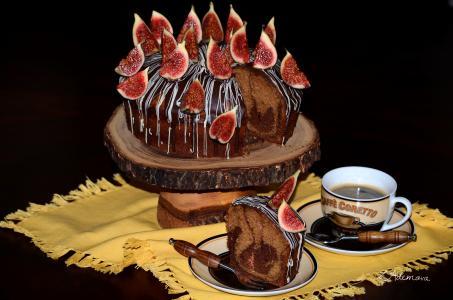 糖果,蛋糕,无花果,咖啡,巧克力,设计,盅,美味