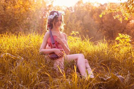 小提琴,日落,女孩,春天