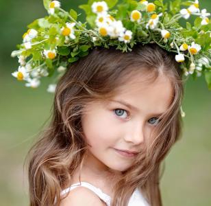 棕色,女孩,孩子,鲜花