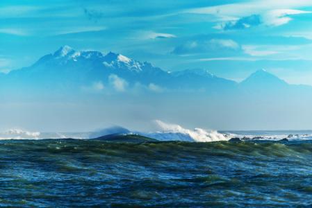 景观,海,山,天空,性质,波浪