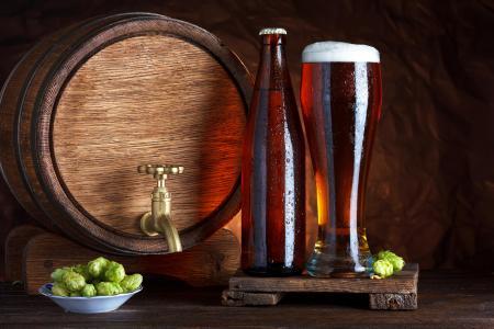 桶,啤酒,玻璃,啤酒花,啤酒