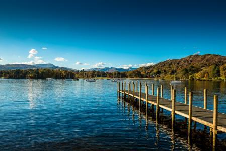 湖,英格兰,码头,天空,温德米尔,安布尔塞德