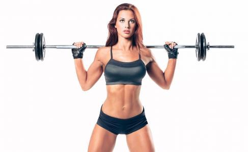 女孩,红色,运动员,培训,酒吧,手套,内裤,身体,图,性感,肚子,臀部,白色背景