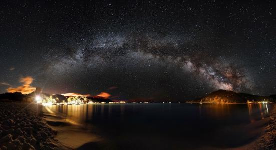银河,天空,星星,山,湖,灯,照明,城市,美容