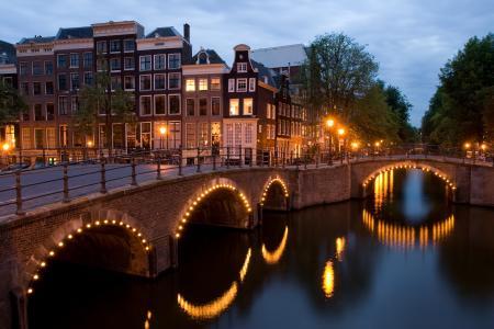 荷兰,keizersgracht,reguliersgracht,查看,黄昏,阿姆斯特丹,角落