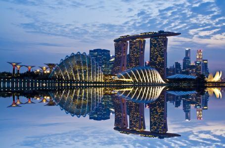 城市,国家,新加坡,美容,建筑,建筑,摩天大楼,河,水,天空,壮观