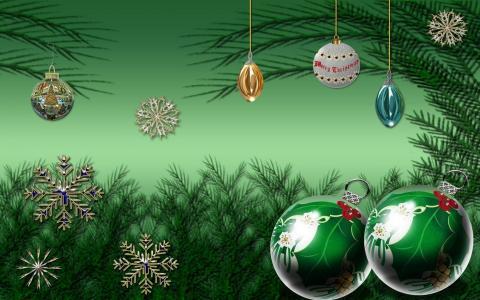 圣诞装饰品,球,雪花,树的分支