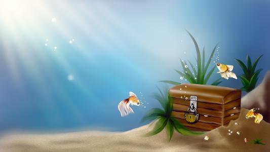 金,海,艺术,胸部,宝藏,鱼,水下,鱼